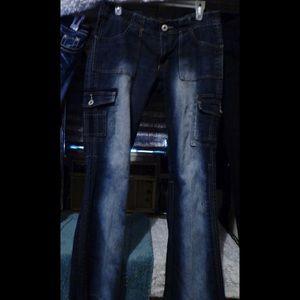 Vintage Disressed Boot-cut Sretch Cargo Jean(sz 9)